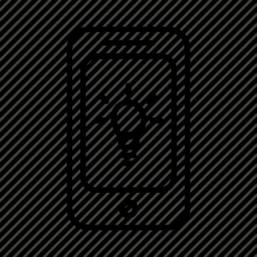 bright, idea, light, lightbulb, phone, smartphone icon