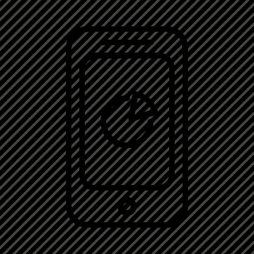 analytics, data, graph, phone, pie, smartphone icon