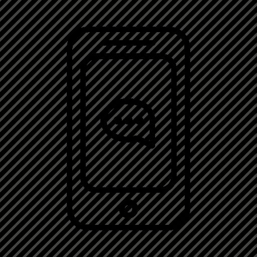 bubble, communicate, dots, phone, smartphone, speak, speech icon