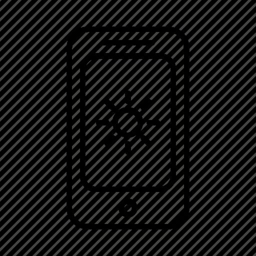 heat, phone, sky, smartphone, summer, sun, weather icon