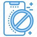 ban, mobile, phone, smartphone, technology icon
