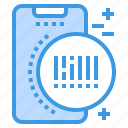 barcode, mobile, phone, smartphone, technology icon