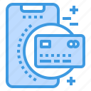 card, credit, mobile, payment, phone, smartphone, technology icon