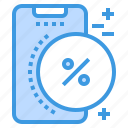 discount, mobile, phone, smartphone, technology icon