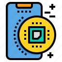chip, mobile, phone, smartphone, technology icon