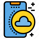 cloud, mobile, phone, smartphone, technology icon