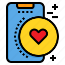 heart, love, mobile, phone, smartphone, technology icon