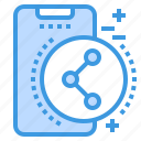mobile, phone, share, smartphone, technology icon