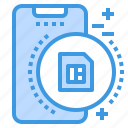 mobile, phone, sim, smartphone, technology icon