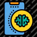 brain, mobile, phone, smartphone, technology icon