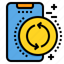 exchange, mobile, phone, smartphone, technology icon