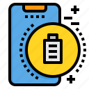 battery, full, mobile, phone, smartphone, technology icon