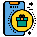 gift, mobile, phone, smartphone, technology icon