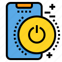 mobile, phone, power, smartphone, technology icon