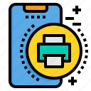 mobile, phone, printer, smartphone, technology icon