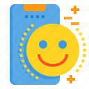 happy, mobile, phone, smartphone, smile, technology icon