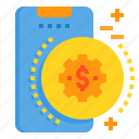mobile, money, phone, smartphone, technology icon