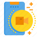 mobile, phone, record, smartphone, technology, vdo icon