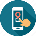direction, map, mobile, navigational, pointer, smartphone, telephone icon