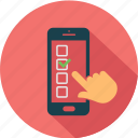 call, checkboxes, communication, message, mobile, smartphone, telephone icon