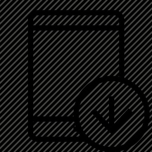 arrow, down, download, tablet icon