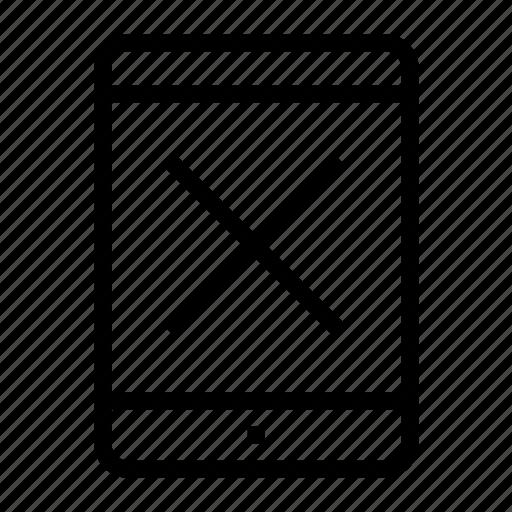 broken, defect, error, problem, spoil, tablet, x icon