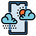 climate, clouds, mobile, phone, weather icon