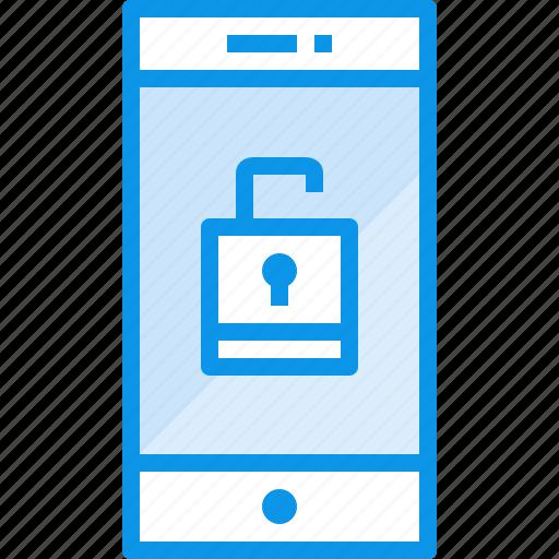 communication, device, phone, smartphone, technology, unlock icon