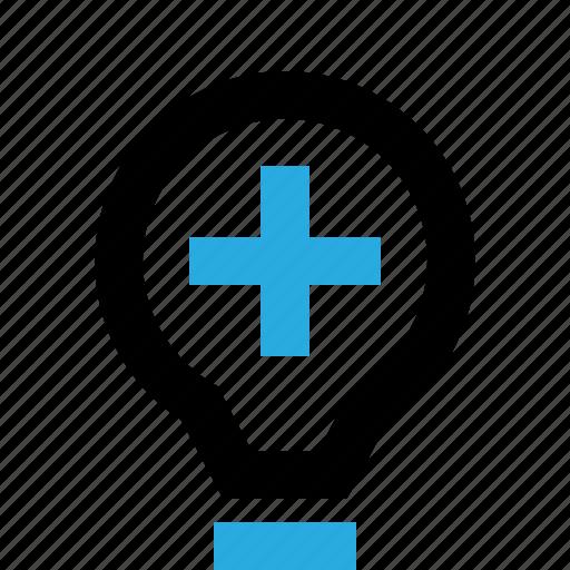 add, bulb, create, help, idea, lamp, light icon