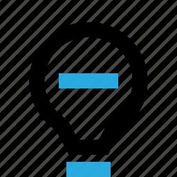 bulb, delete, help, idea, lamp, light, remove icon