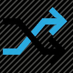 arrow, crossing, exchange, shuffle, sync icon