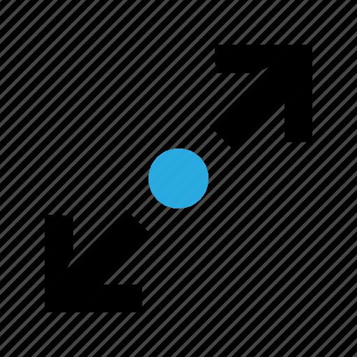 arrow, deploy, dot, maximize, size, zoom. gestures icon