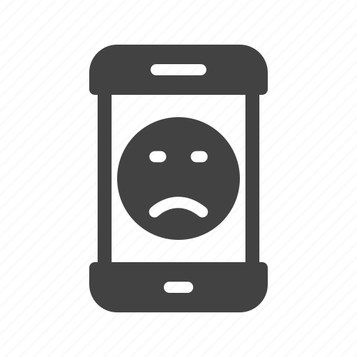 expression, face, mobile, phone, sad, screen, smartphone icon