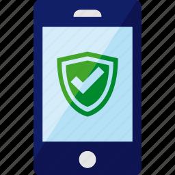 antivirus, phone, safe, security, shield, smartphone icon