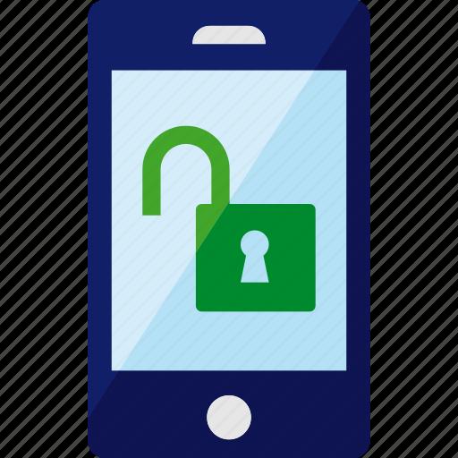 lock, open, phone, security, smartphone, unlock icon