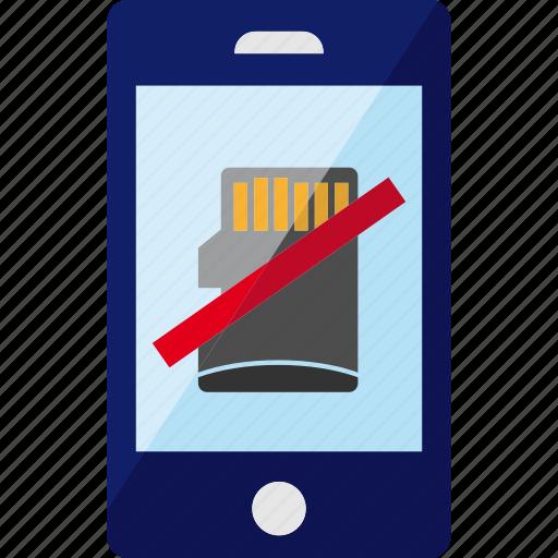card, delete, error, mini, phone, sd, smartphone icon