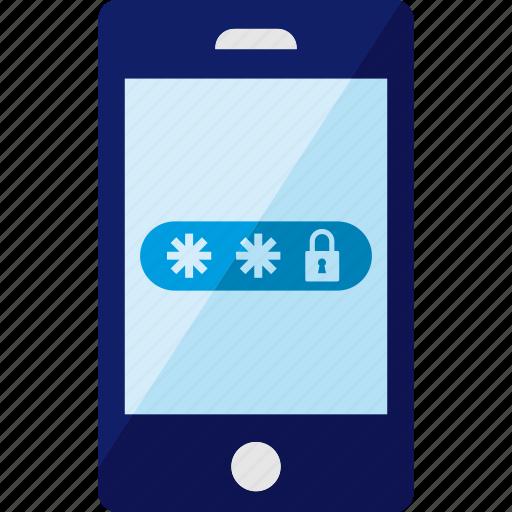 password, phone, security, smartphone icon