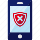 antivirus, phone, shield, smartphone, unprotected, unsafe icon