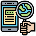 find, research, search, smartphone, sourcing icon