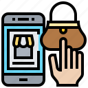 app, purchase, shopping, smartphone, wallet icon