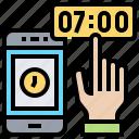 clock, futuristic, hour, smartphone, time icon