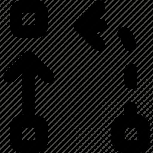 alternative, arrow, direction, orientation, symbiosis icon
