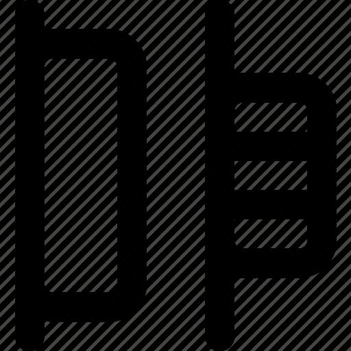 design, distribute, graphic, horizontal, left, tool icon