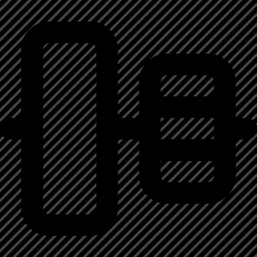 align, center, design, graphic, tool, vertical icon