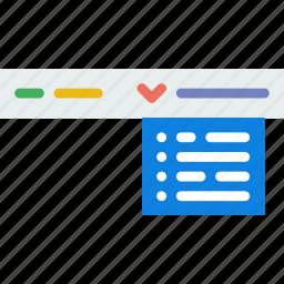 code, coding, development, dropdown, menu, programming icon