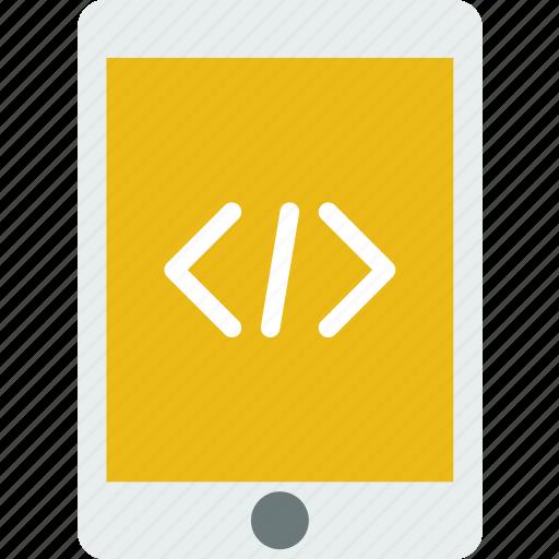 code, coding, development, programming, tablet icon