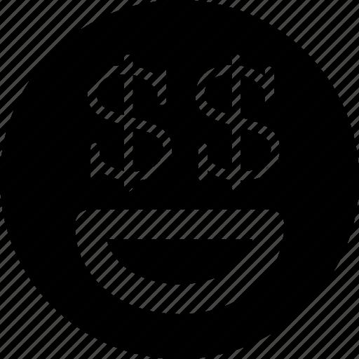 emoji, emoticon, face, money icon