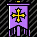 antique, battle, medieval, old, standard icon