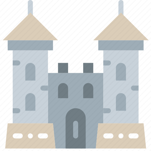 antique, castle, gate, medieval, old icon