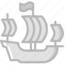 antique, medieval, old, ship, spanish icon